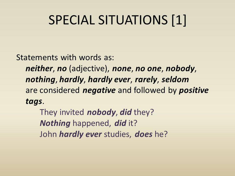 SPECIAL SITUATIONS [1]